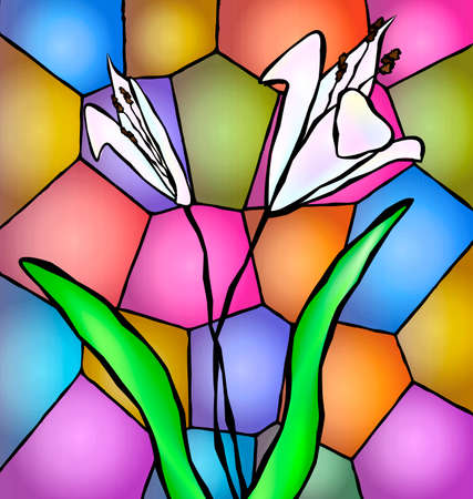abstract colored background stylized for stained glass and image of white lily
