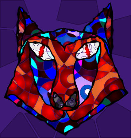interweave: abstract colored wolf