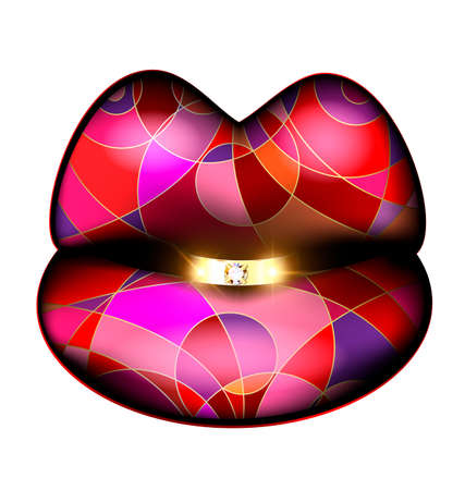 interweave: abstract colored lips and diamond ring Illustration