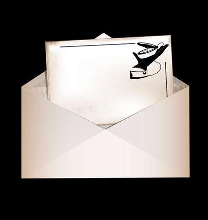 dark, envelope and retro card Stock Photo