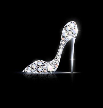 Il fondo nero e la scarpa dorata astratta dei gioielli con i cristalli vector l'illustrazione.