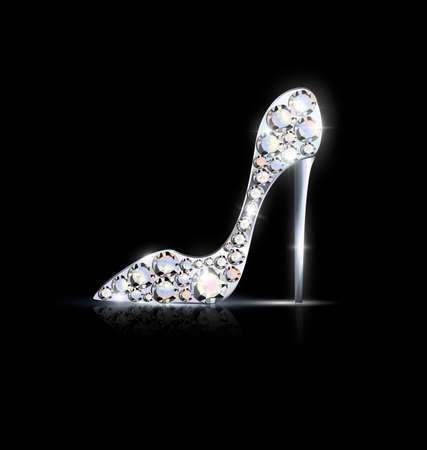 Black background and the abstract golden jewelry shoe with crystals vector illustration.