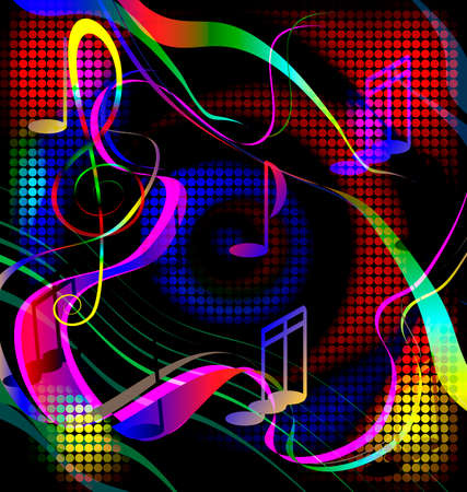 dark background and abstract red, blue and green music