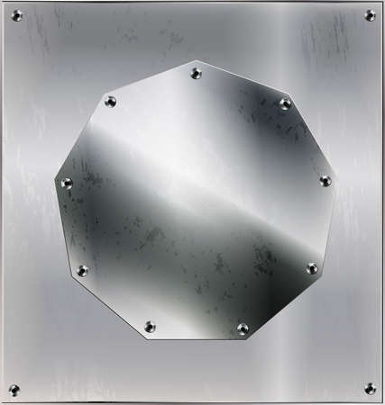 iron background, metal stylized sheet with geometric figure polygon and holes