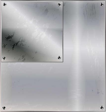 철 배경, 기하학적 인 그림 정사각형과 구멍이있는 금속 양식화 된 시트
