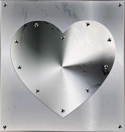 Metal sheet with heart and holes vector illustration.