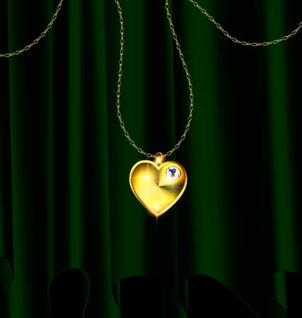 donkere achtergrond, groene draperie en gouden ketting met sieraden hart Stock Illustratie