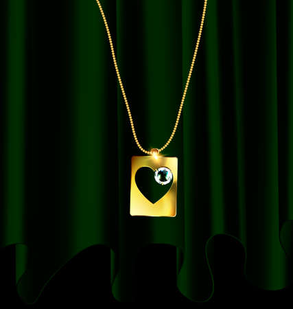 heartshaped: Golden necklace with pendant. Illustration