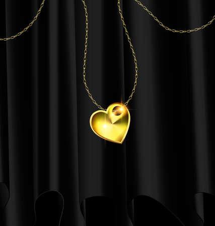 draperen en gouden hart hanger Stock Illustratie