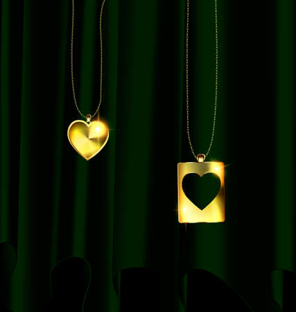 Drape and golden pendants of two hearts.