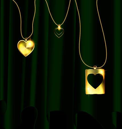 Heart pendants illustration.
