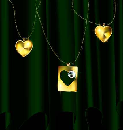 gloss: Heart pendants icon.