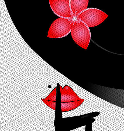 white background and abcstract outlines womans face with black hat, red rose and dark veil