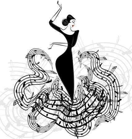 white background and abstract dancing girl in black music dress