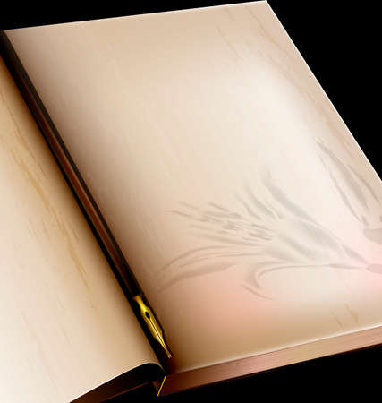 dark background, retro stylized sheet of paper old book with image of lily and vintage-fashioned golden writing pen