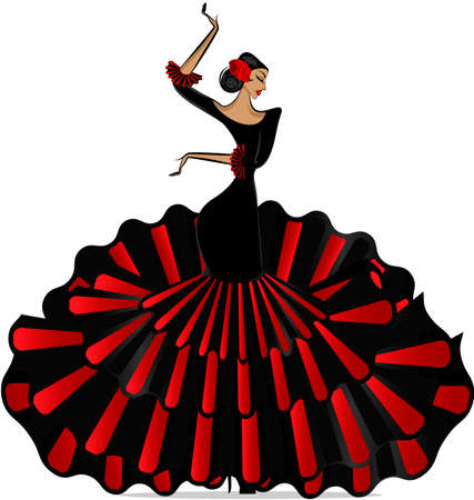 Abstract flamenco girl in dance. Illustration