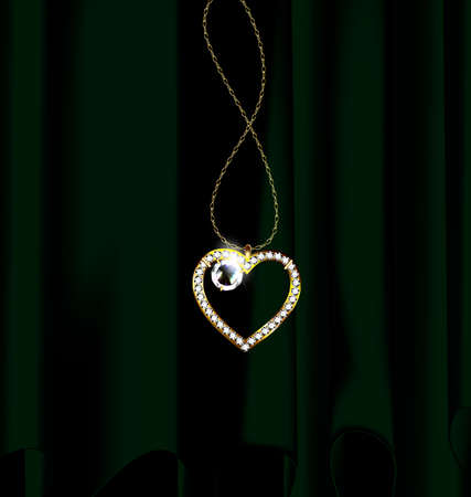 Black background, dark drape and golden chain with jewelry heart. Illustration