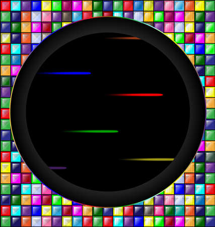 colored image of blocks and dark hole