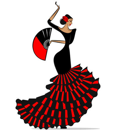 Female Spanish dancer icon. 向量圖像