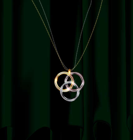 black hole: green drape and jewelry pendant rings Illustration