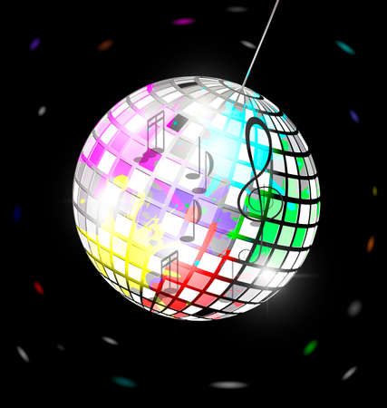 specular: black background and abstract colored specular disco ball
