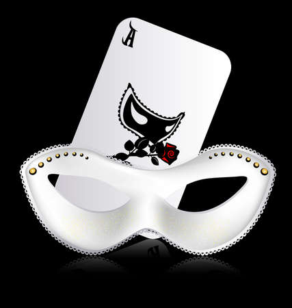 ace of hearts: ace and white mask Stock Photo