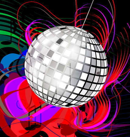 black background with abstract colored image of music and specular disco ball