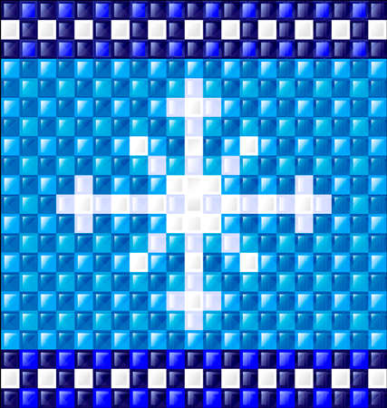 interweave: abstract colored pattern image of snowflake consisting of lines with blue and white glossy blocks