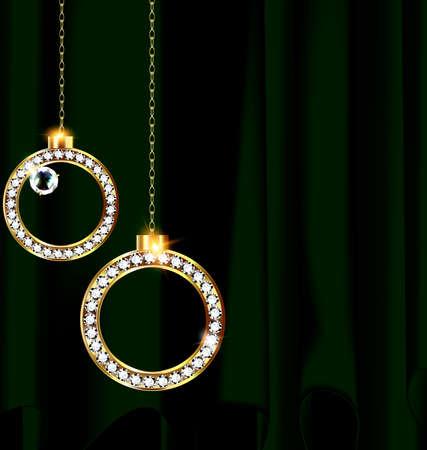Green drape and two jewel Christmas balls