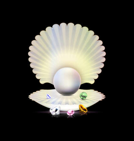 Black background with the large white open shell and the big light pearl inside, colored crystals Illustration