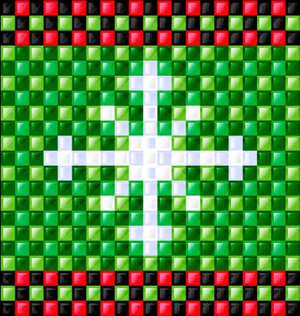 interweave: abstract colored background image of snowflake consisting of lines with green and red glossy blocks