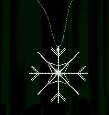 Green drape and jewel snowflake