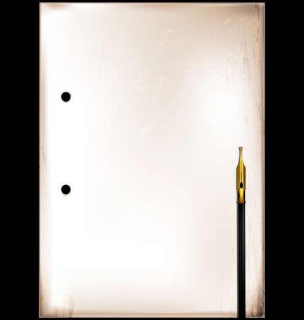 Vintage frame and golden pen