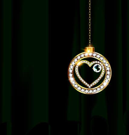 Heart neclace pendant icon.