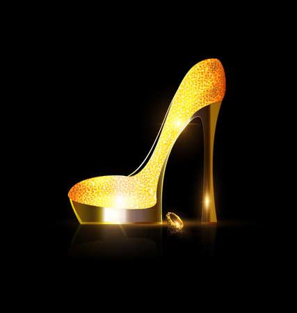 donkere achtergrond en de dames gouden schoen met geel kristal