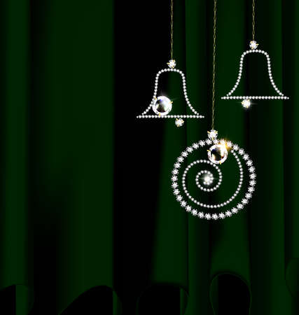 Green and jewelry Christmas decoration Illustration