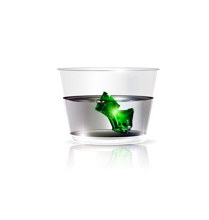 white glass and green ice Ilustrace