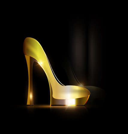 reflection of golden shoe