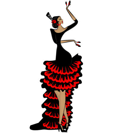 White background and abstract image of Spanish dancer in red-black dress.