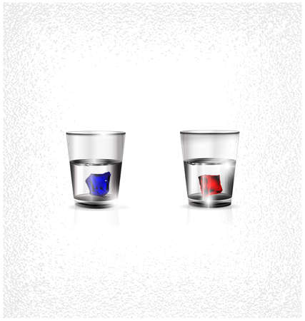 Two small glasses of strong alcoholic drink or water and red blue colored ice cubes inside Ilustrace