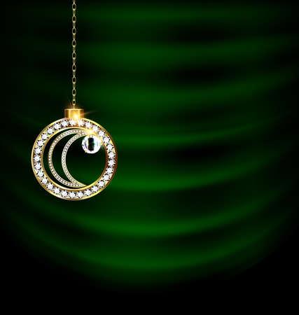Green drape with jewel Christmas moon