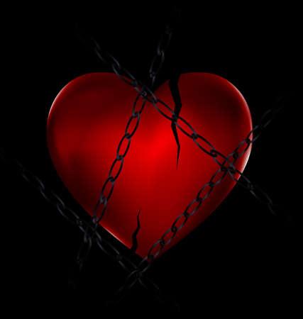 Chain and broken heart Illustration