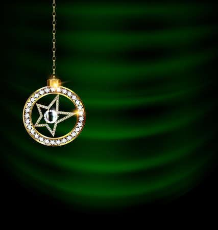 Green drape with jewel Christmas star
