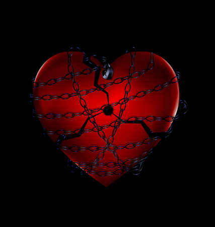 alone in the dark: Chain broker heart in black illustration.