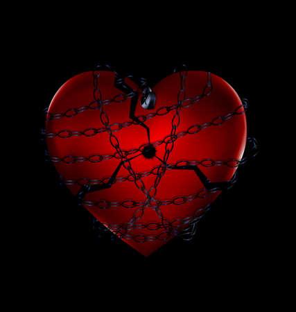 Chain broker heart in black illustration.