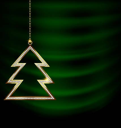 green drape and goden jewel Christmas tree
