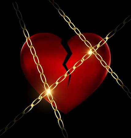 heartshaped: golden chain and broken heart Stock Photo