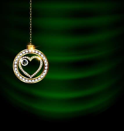green drape with jewel Christmas heart