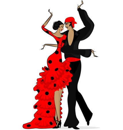 Abstract flamenco couple in dark red  イラスト・ベクター素材