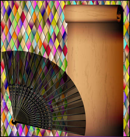 romb background with old paper and fan